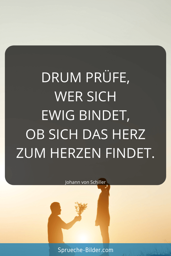 Ehe Sprüche - Drum prüfe, wer sich ewig bindet, ob sich das Herz zumHerzen findet. Johann von Schiller