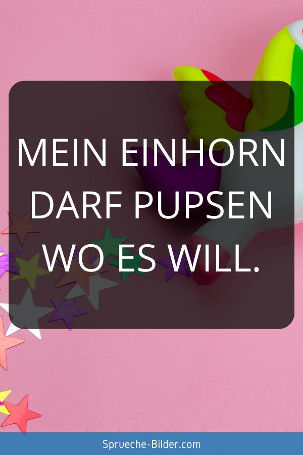 Einhorn Sprüche - Mein Einhorn darf pupsen wo es will.