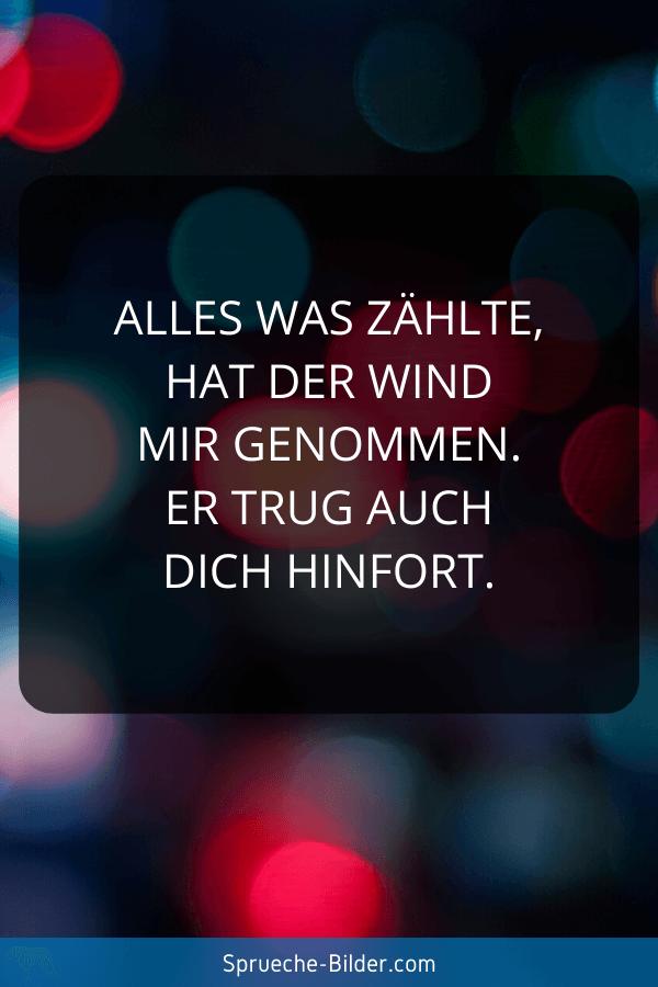 Liebeskummer Sprüche - Alles was zählte, hat der Wind mir genommen. Er trug auch dich hinfort.