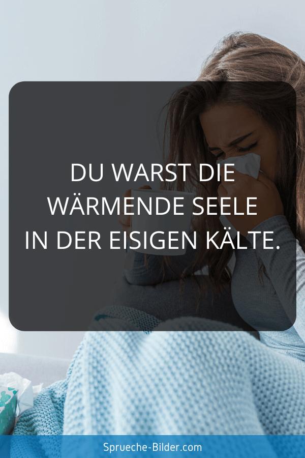 Liebeskummer Sprüche - Du warst die wärmende Seele in der eisigen Kälte.