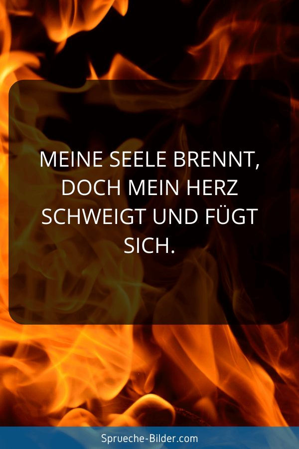 Liebeskummer Sprüche - Meine Seele brennt, doch mein Herz schweigt und fügt sich.