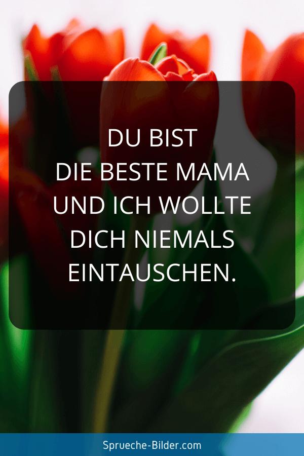 Mama Sprüche - Du bist die beste Mama und ich wollte dich niemals eintauschen.