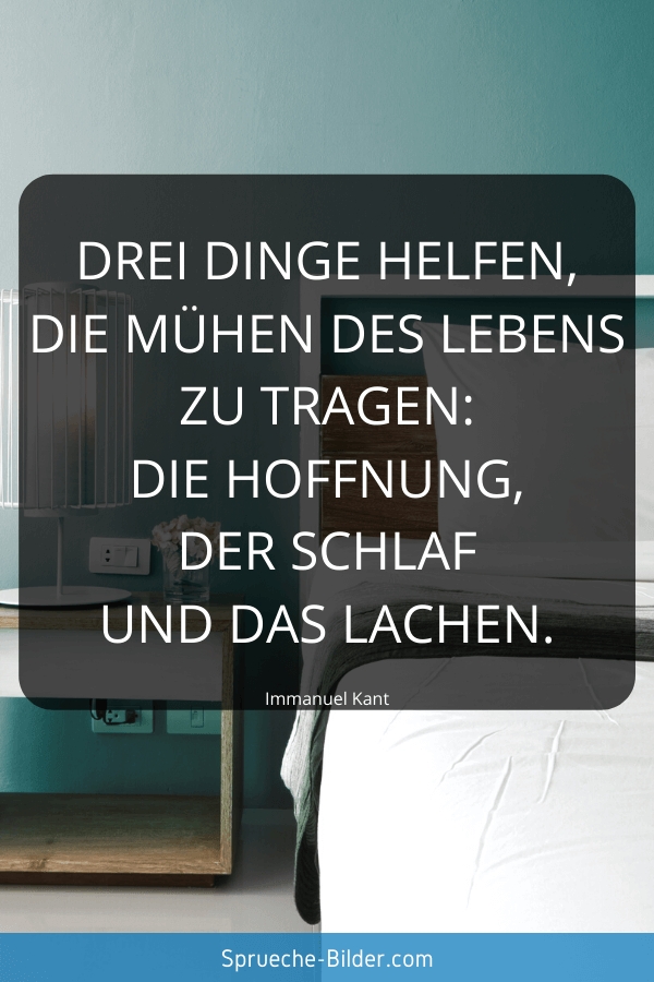 Positive Sprüche - Drei Dinge helfen, die Mühen des Lebens zu tragen Die Hoffnung, der Schlaf und das Lachen. Immanuel Kant